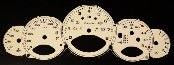 Zifferblätter bis 350 km/h, passend für Porsche 997 Turbo