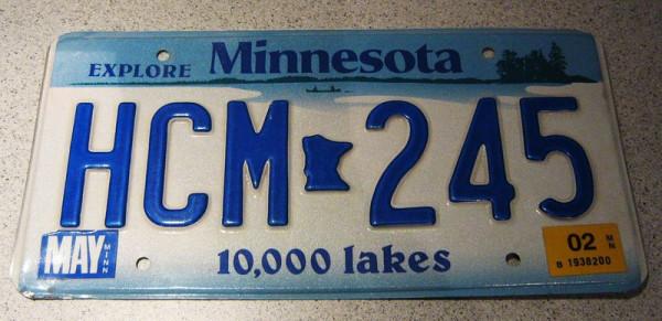 "US-Nummernschild ""Minnesota"", original"