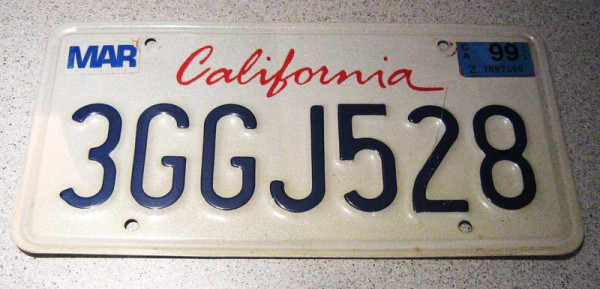 "US-Nummernschild ""California"", original"