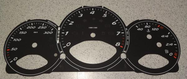 Zifferblätter bis 300 km/h, passend für Porsche Boxster 987