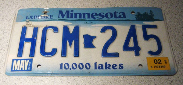 "US-Nummernschild ""Minnesota"", original"