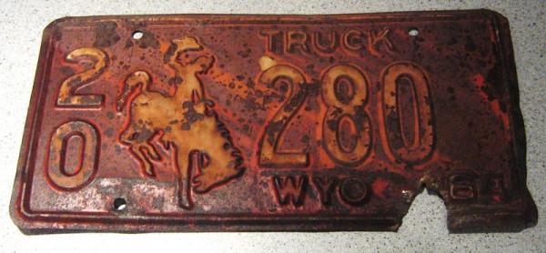 """US-Nummernschild """"Wyoming"""", original von 1964"""
